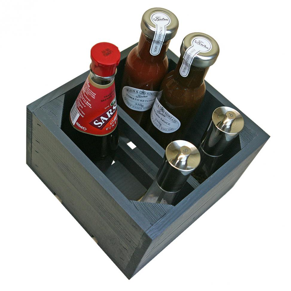 Wooden Condiments Holder