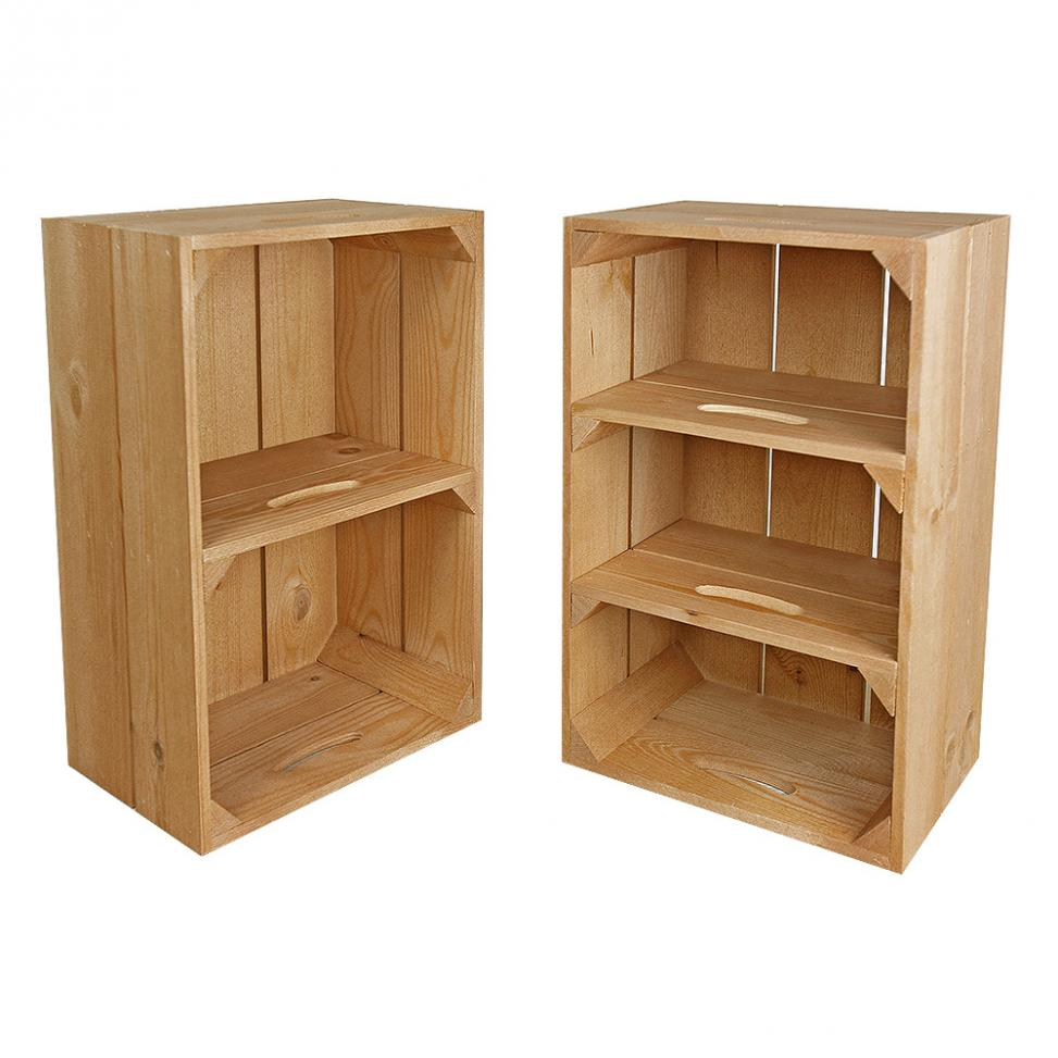 Wooden Crate with Shelves