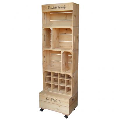 Branded wooden apple crates for retail display and POS